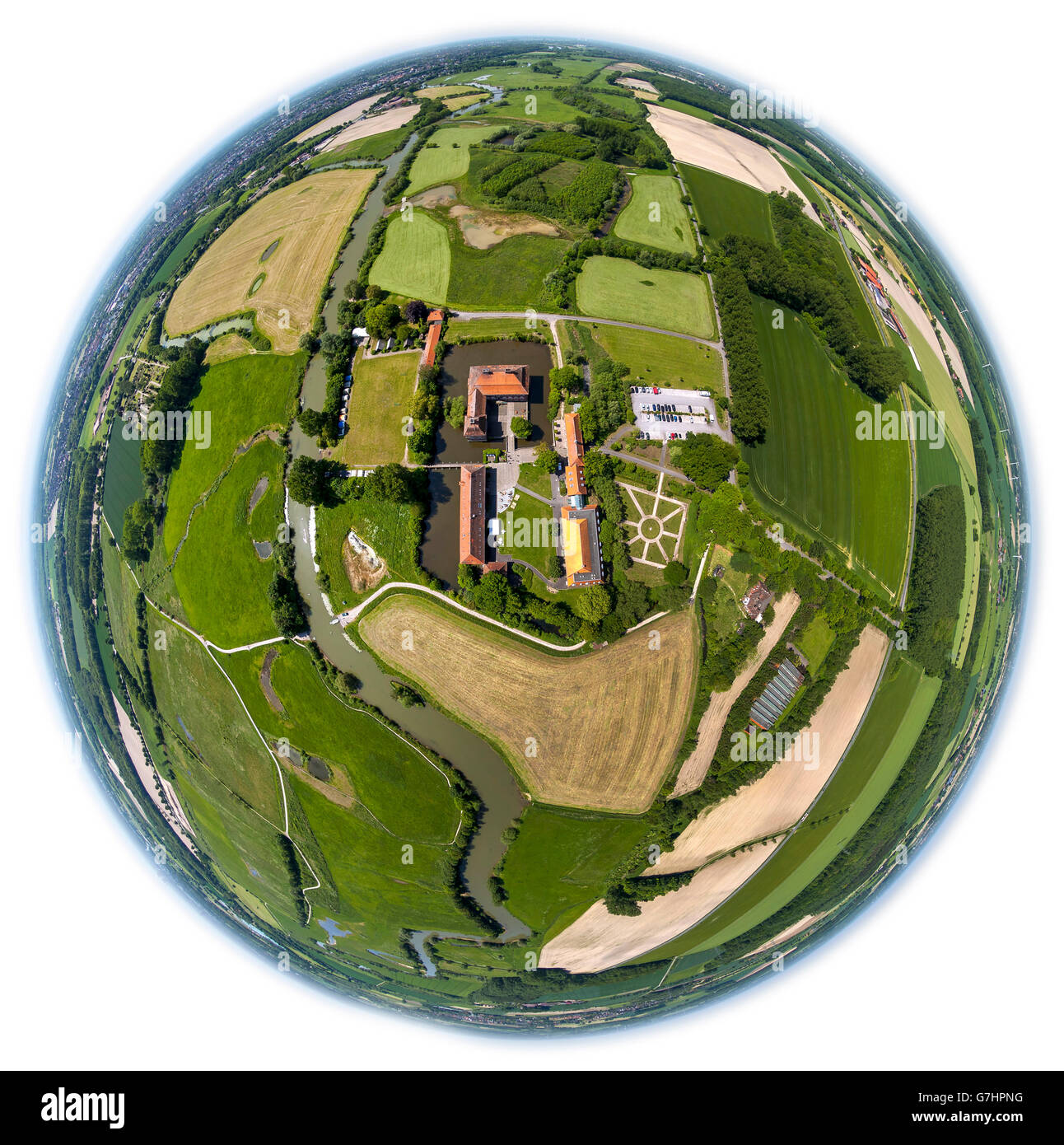Aerial view, Schloss Oberwerries, moated castle, Lippeauen, nature reserve, headquarters of the Sports Federation - Stock Image