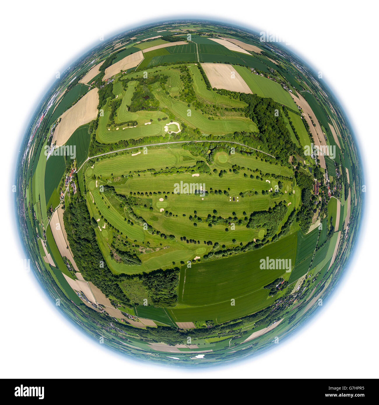 Aerial view, fisheye optics, fisheye lens, overview of the golf course Hamm, Golfclub Hamm Drechen, greens, bunkers, - Stock Image