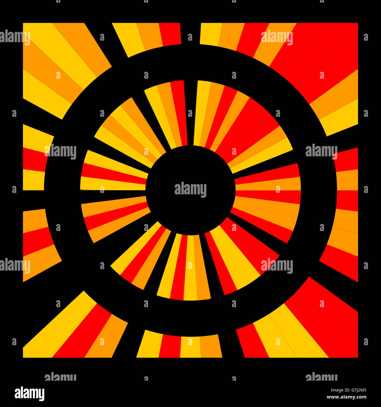 Target. Geometric digital art in strong saturated red orange and black colors. - Stock Image