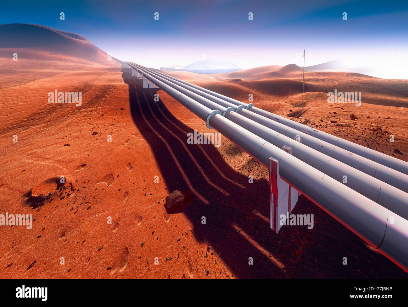 Pipeline on Mars Stock Photo