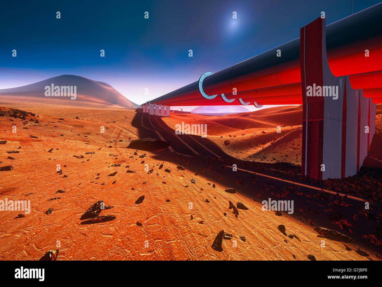 Pipeline on Mars Stock Photo
