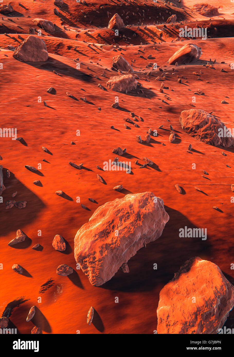 Mars surface, red rocks Stock Photo