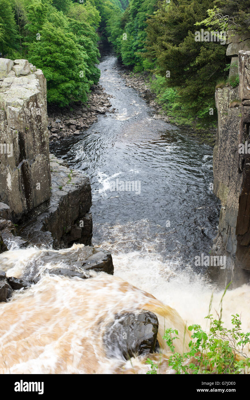 The edge of the precipitous drop at High Force, Teesdale, County Durham, England, UK - Stock Image
