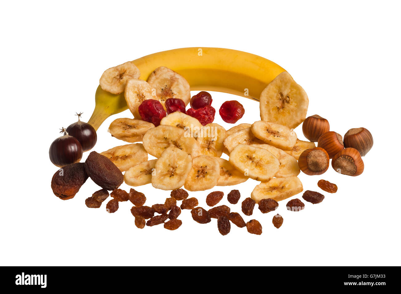 Dried fruit mix isolated on white - Stock Image