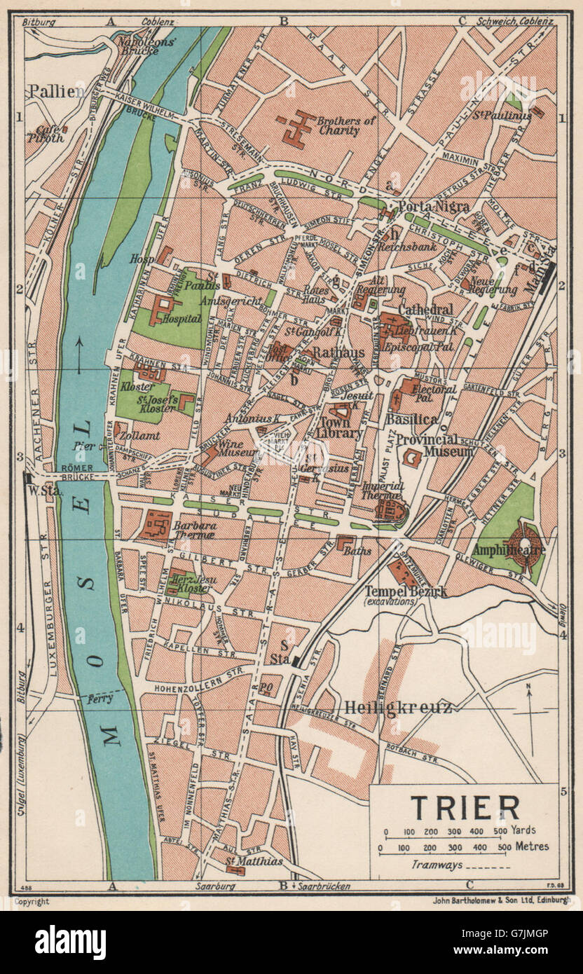 Trier Vintage Town City Map Plan Germany 1933 Stock Photo