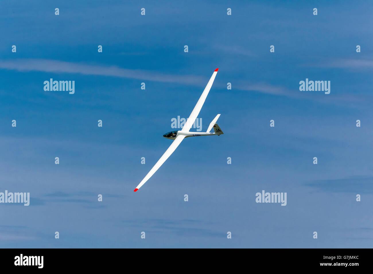 Aerial view, gliding, Power seater glider DG 300, Hamm, Ruhr area, North Rhine-Westphalia, Germany, Europe, Aerial - Stock Image