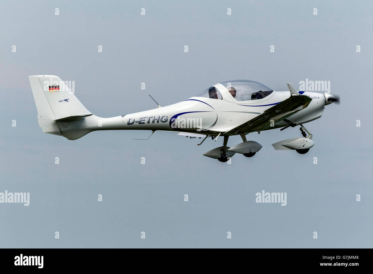 Aerial view, airfield Hamm start a single-seater AQUILA, light aircraft, Hamm, Ruhr area, North Rhine-Westphalia, - Stock Image