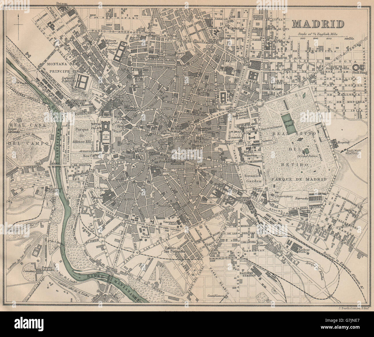 MADRID Vintage town city map plan Spain 1899 Stock Photo