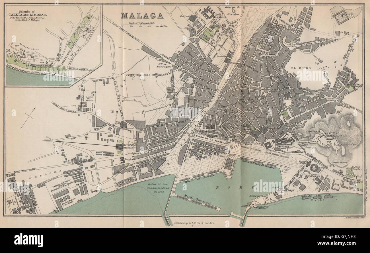 Map Of Spain Showing Malaga.Malaga Caleta Limonar Vintage Town City Map Plan Spain 1899