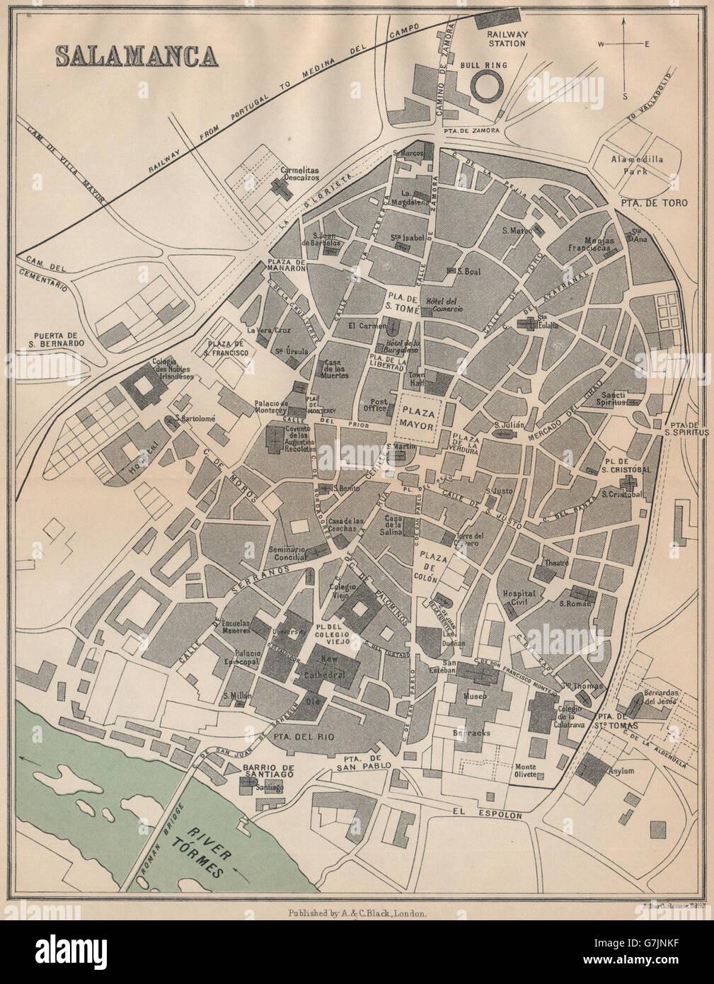 Salamanca Cartina.Salamanca Vintage Town City Map Stock Photos Salamanca Vintage