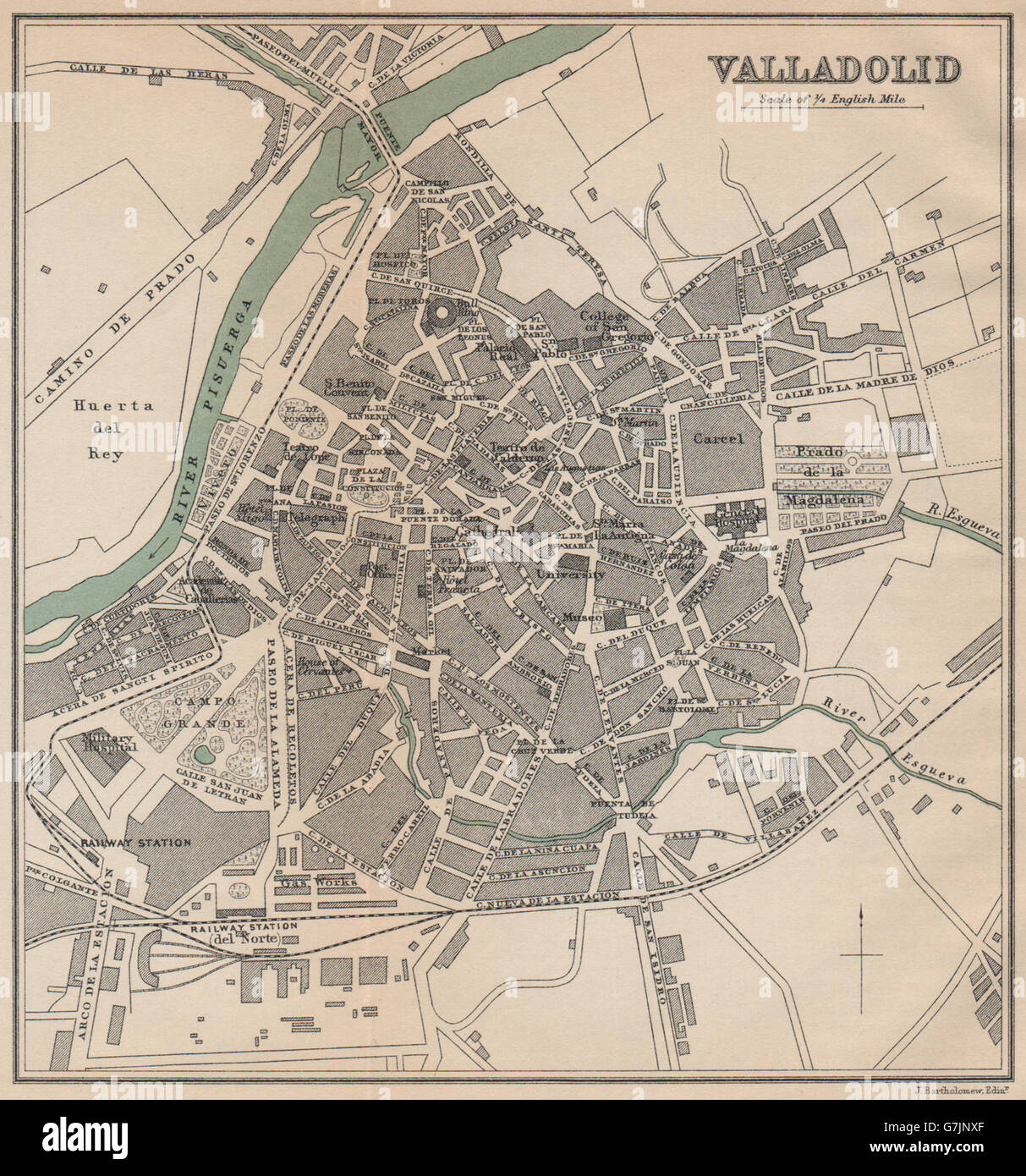 Map Of Spain Valladolid.Valladolid Vintage Town City Map Plan Spain 1899 Stock Photo