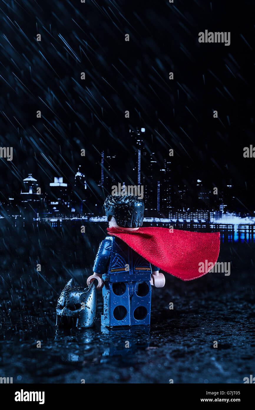 Lego Batman v Superman. Superman has defeated Batman before the Justice League - Stock Image