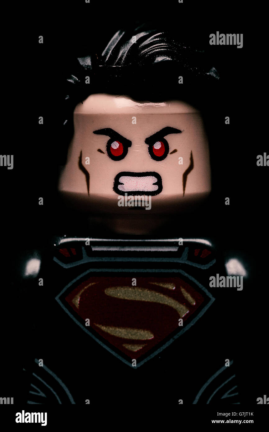 Lego Batman v Superman Macro Portrait featuring a close up of Superman in an angry state. Justice League movie. - Stock Image