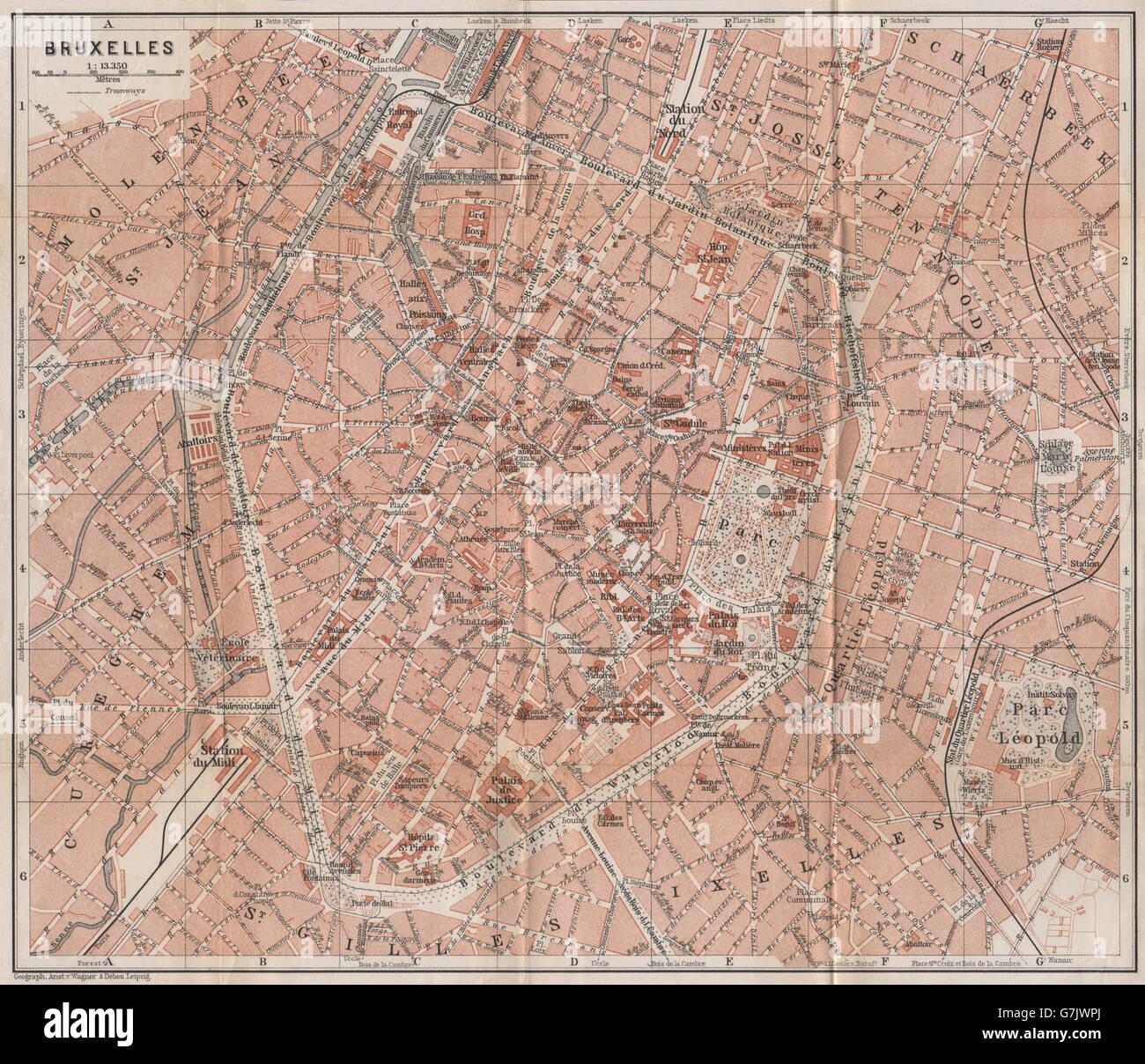 Belgium carte 1897 map BRUSSELS BRUXELLES BRUSSEL town city plan de la ville
