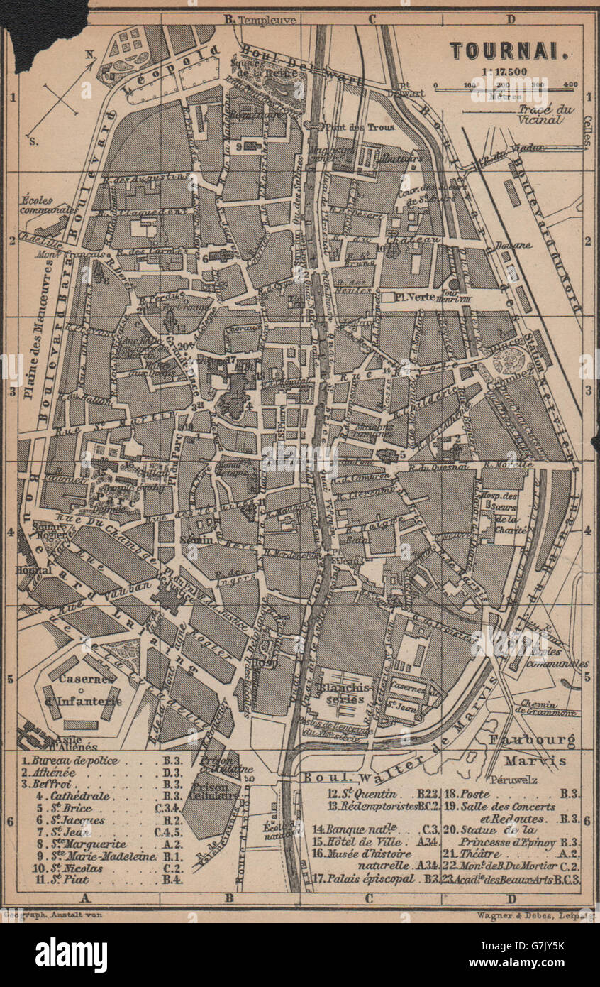 TOURNAI DOORNIK antique town city plan Belgium carte BAEDEKER 1905 old map