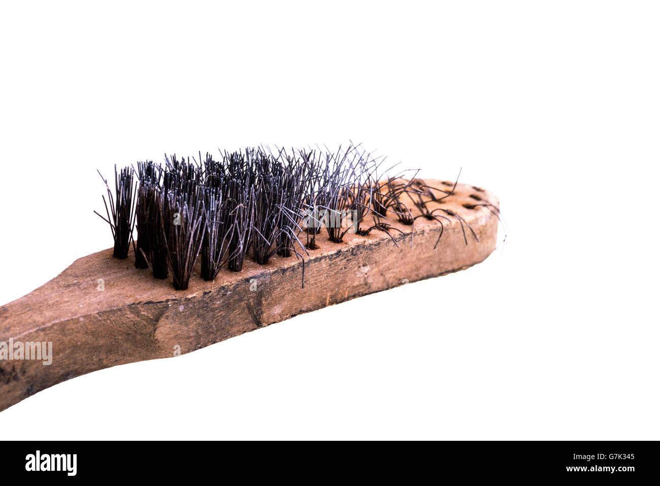 Old badly worn wire brush. - Stock Image