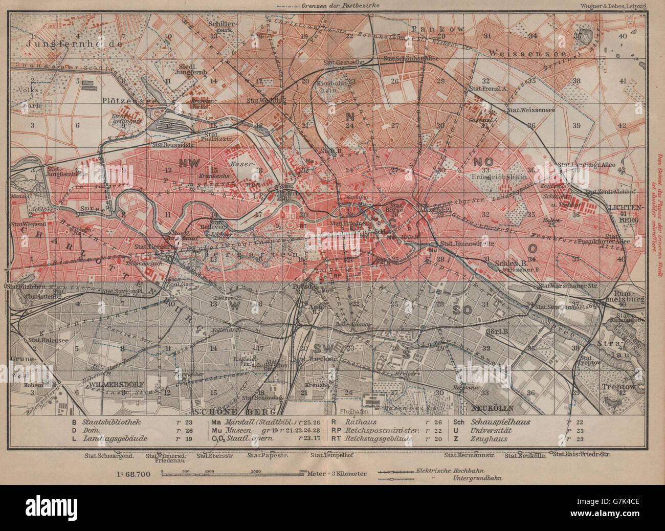 BERLIN KEY MAP vintage town city stadtplan karte. BAEDEKER, 1923 ...