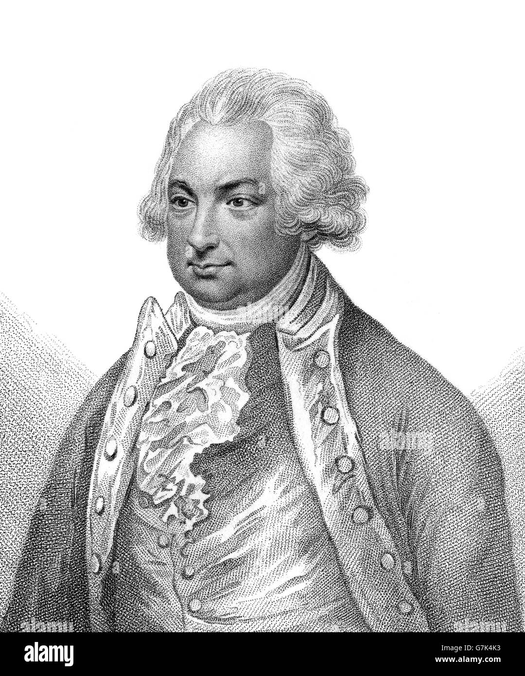 Constantine John Phipps, 2nd Baron Mulgrave, 1744-1792, an English explorer and officer in the Royal Navy - Stock Image