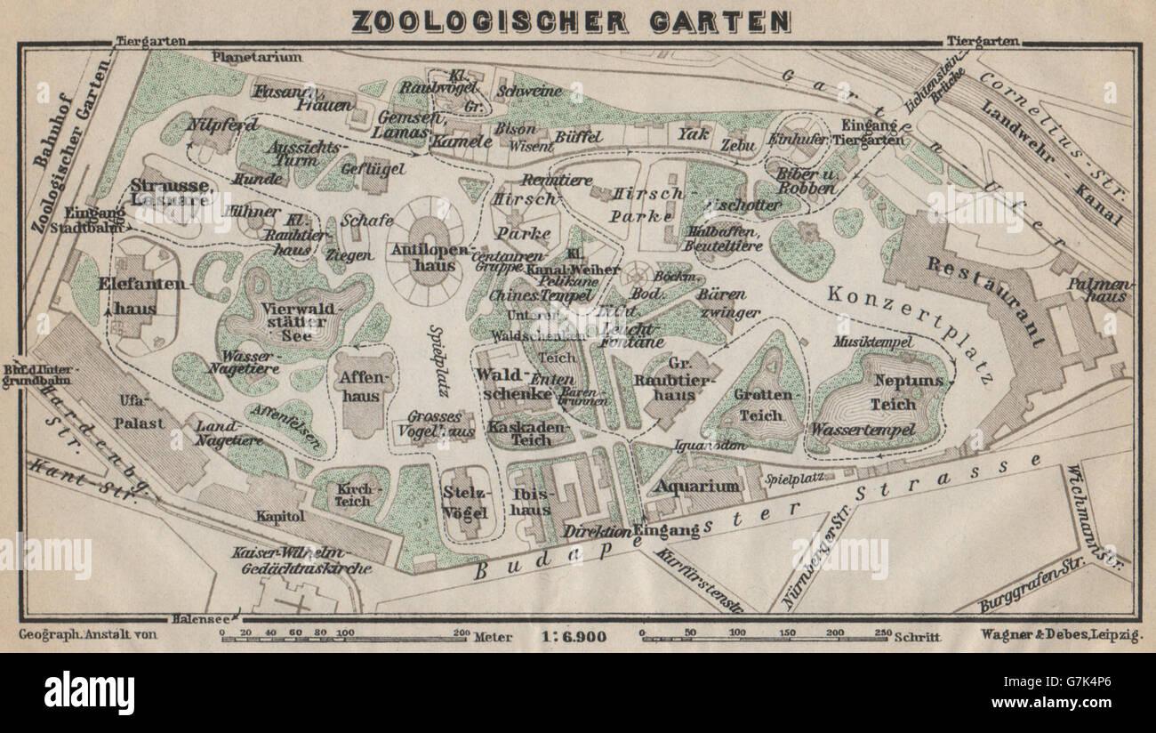 ZOOLOGISCHER GARTEN Ground Plan Berlin Karte BAEDEKER - Vintage map berlin