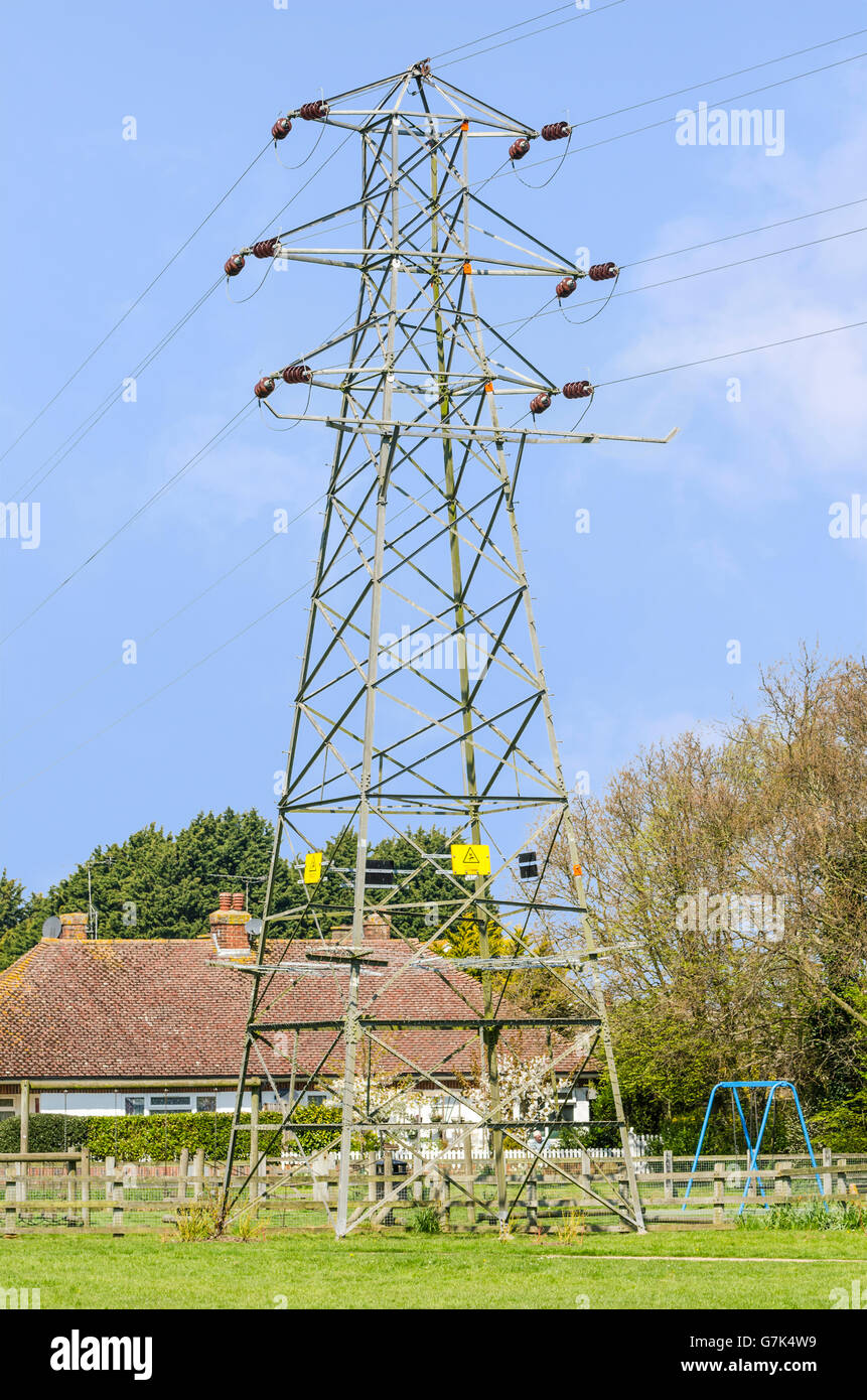 Electricity pylon in Ferring, West Sussex, England, UK. - Stock Image