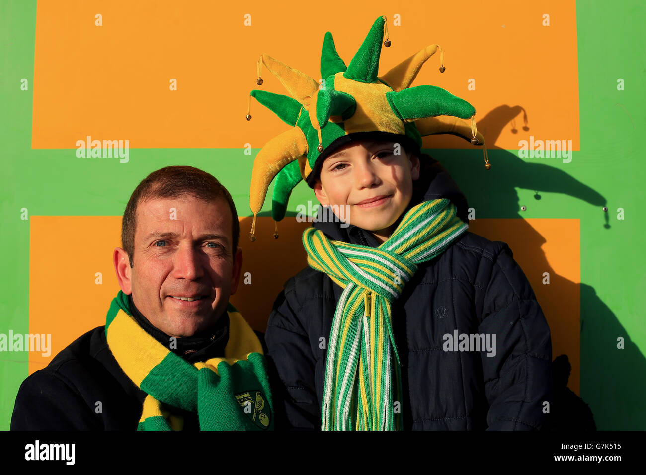 Football Supporters Norwich Green and Yellow Jester Hat
