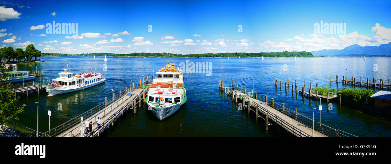 Europe Germany Chiemgau Chiemsee lake Prien ferry pier to King's castle Stock Photo