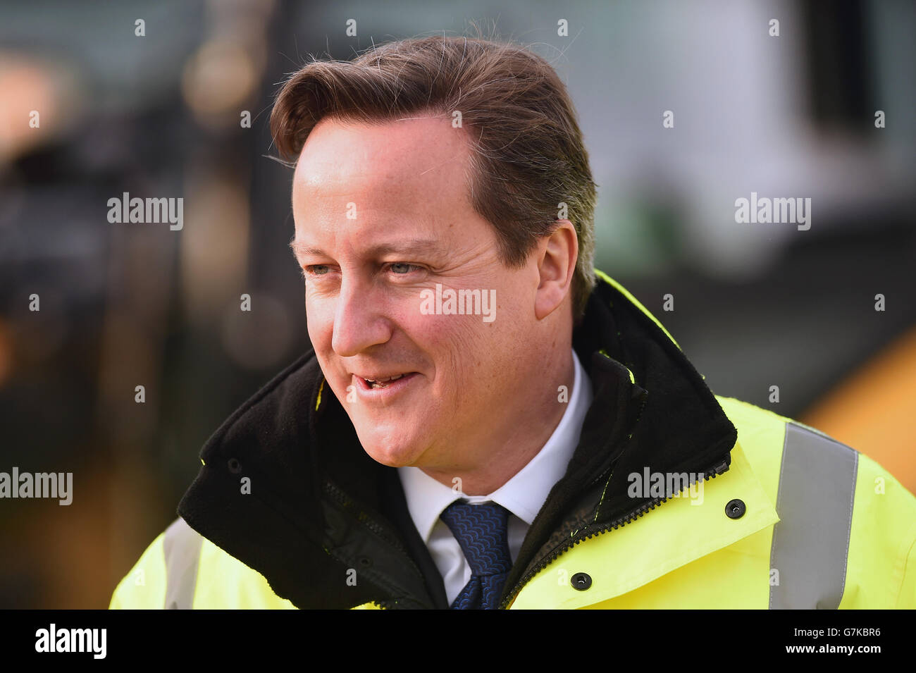 Prime Minister David Cameron views new building work at Edinburgh Airport on his making his first visit to Scotland since the independence referendum last September. Stock Photo