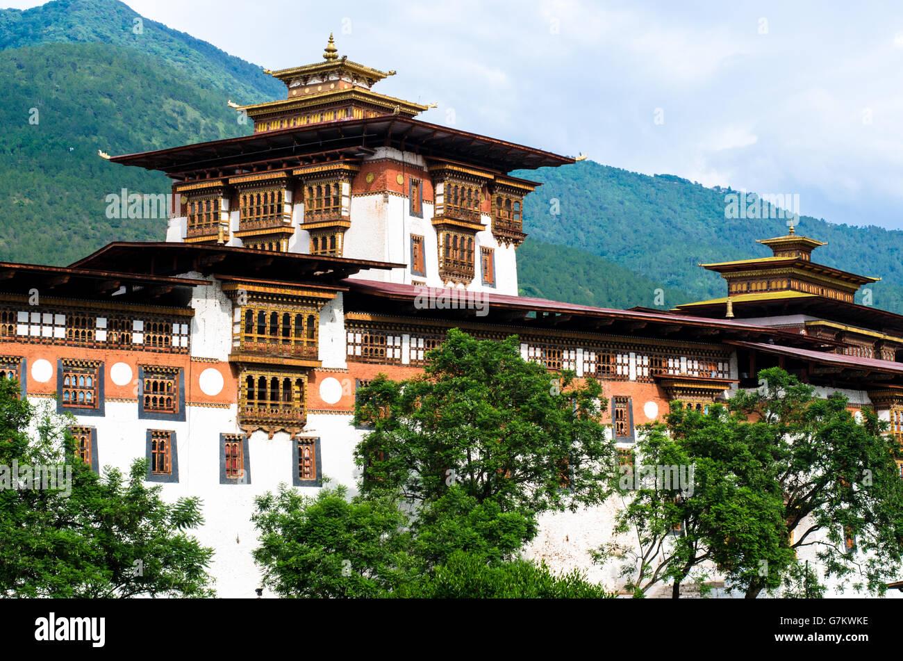 Beautiful Architecture of Punakha Dzong - Stock Image