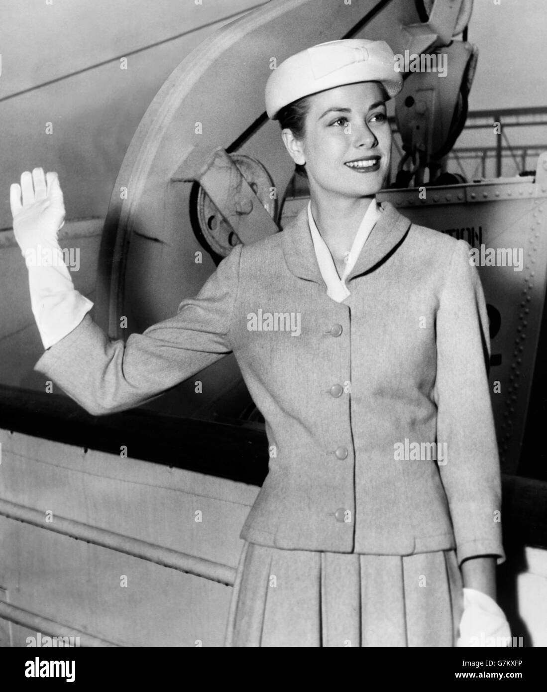 Grace Kelly  (1929-1982) . The American actress waving goodbye to New York from the ocean liner Constitution, before - Stock Image