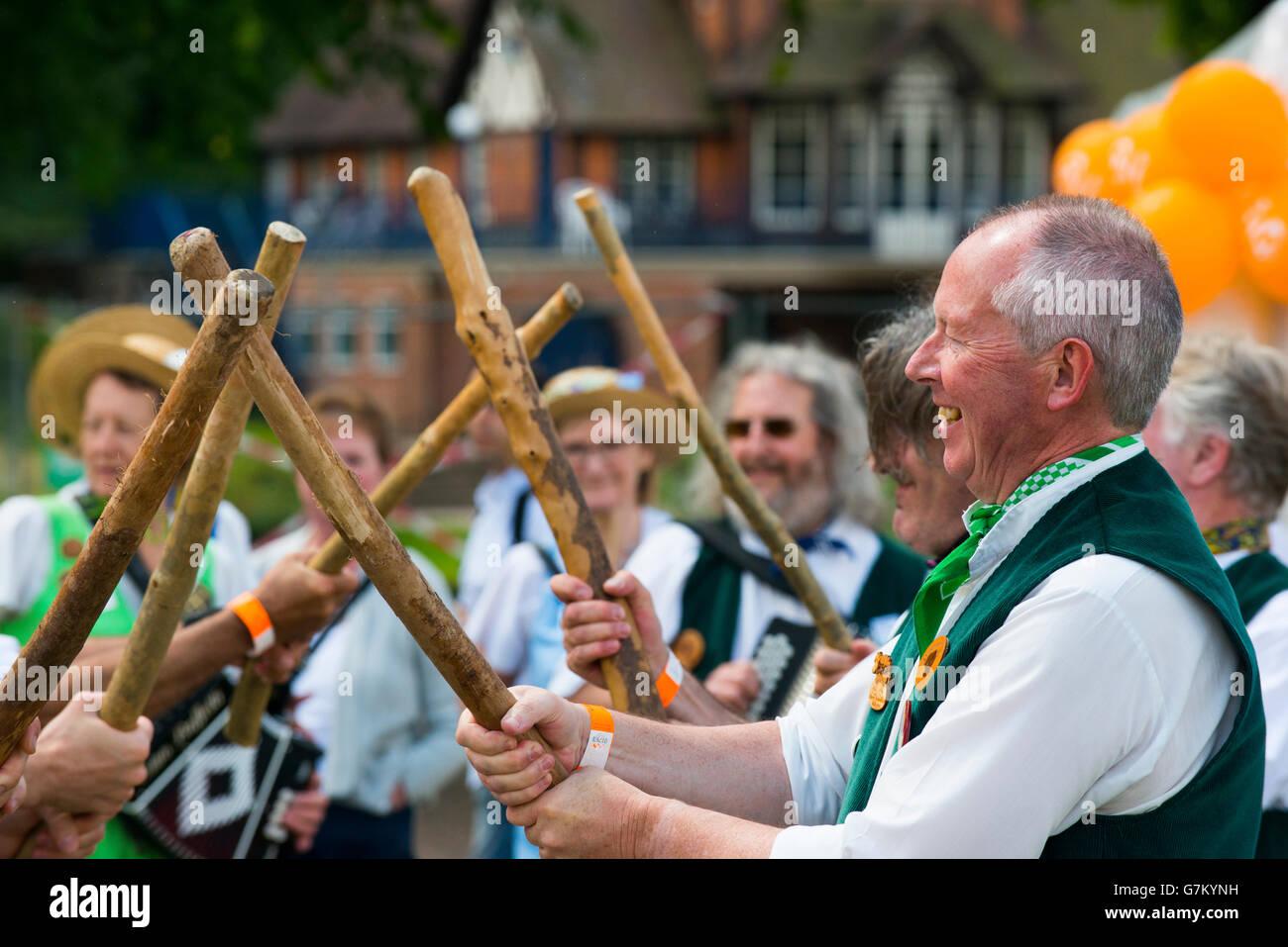 Members of Shrewsbury Morris dancing at the 2016 Shrewsbury Food Festival in Shropshire, England, UK. - Stock Image