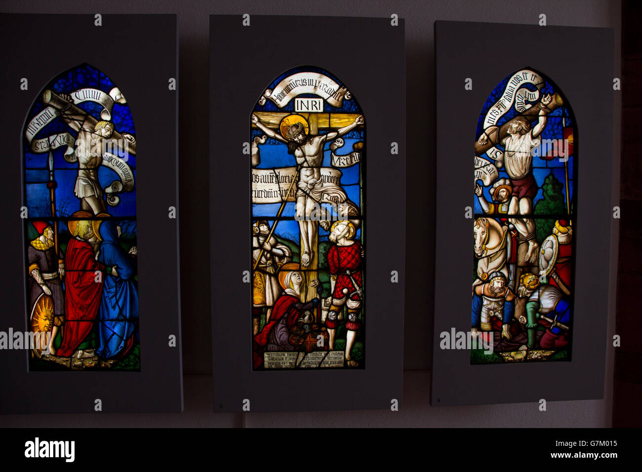 Stained glass windows from the Renaissance era on display at Basel Historical Museum, Basel, Switzerland. - Stock Image