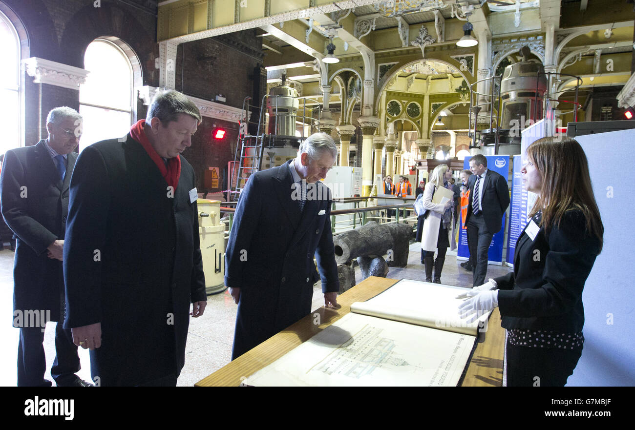 Charles visit to Abbey Mills Pumping station - Stock Image