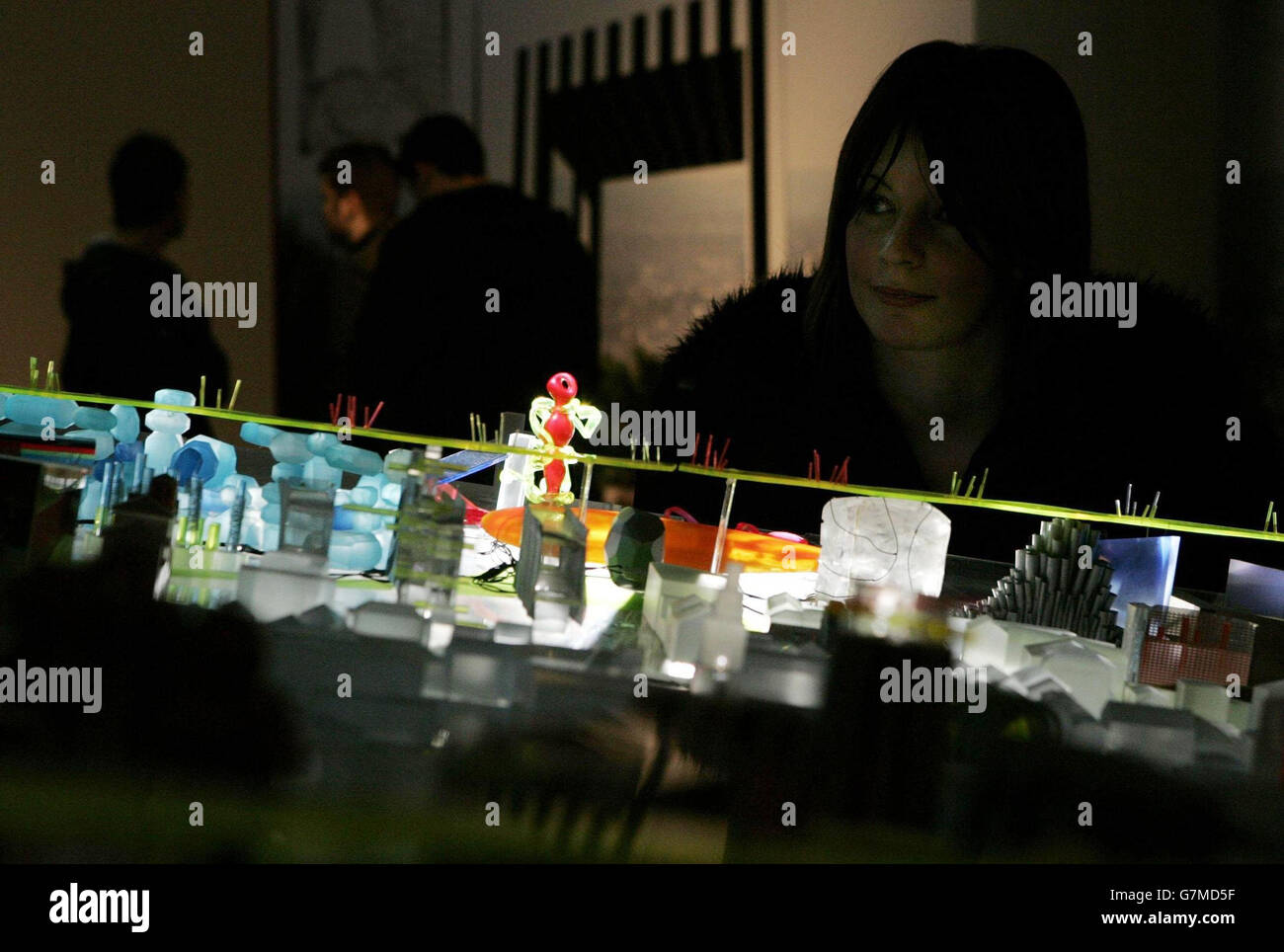 A member of the public gazes across Will Alsop's dream of a SuperCity spanning from Liverpool to Hull, looking - Stock Image