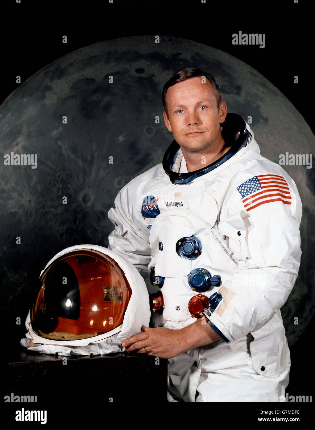 Neil Armstrong, Astronaut. Official NASA portrait of Neil A. Armstrong, commander of the Apollo 11 lunar landing Stock Photo