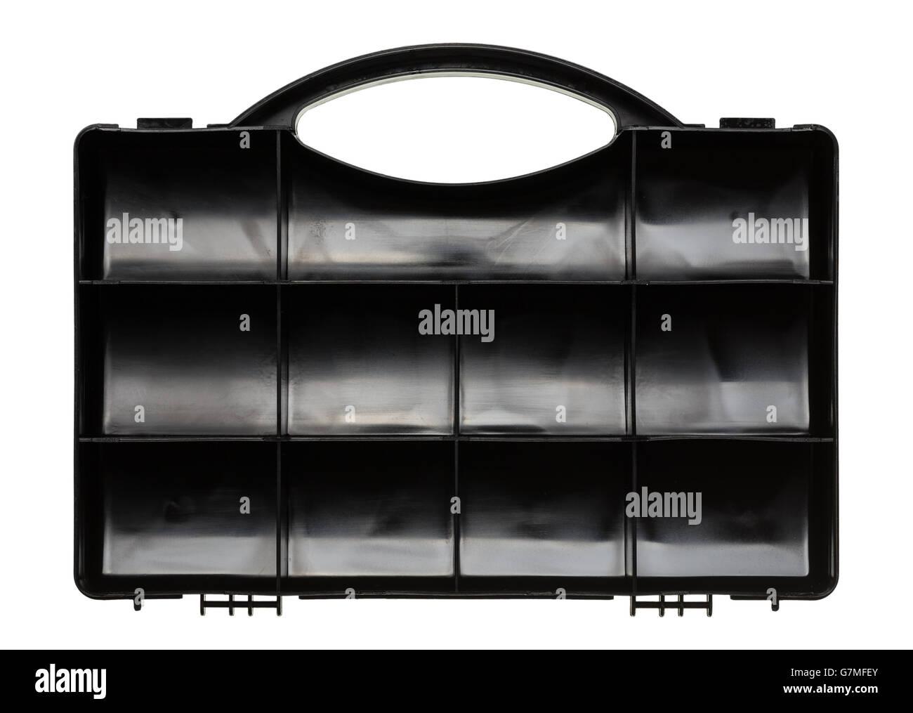 Empty organizer plastic black box for tools - Stock Image