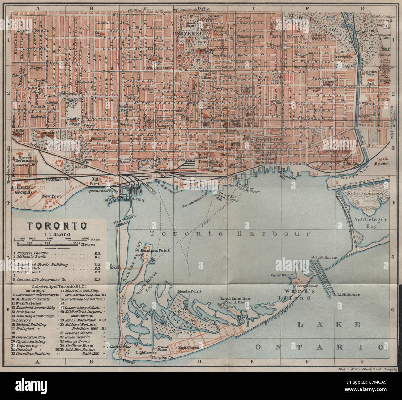 Map Of Canada Toronto Ontario.Toronto Town City Plan Ontario Canada Baedeker 1922 Vintage Map