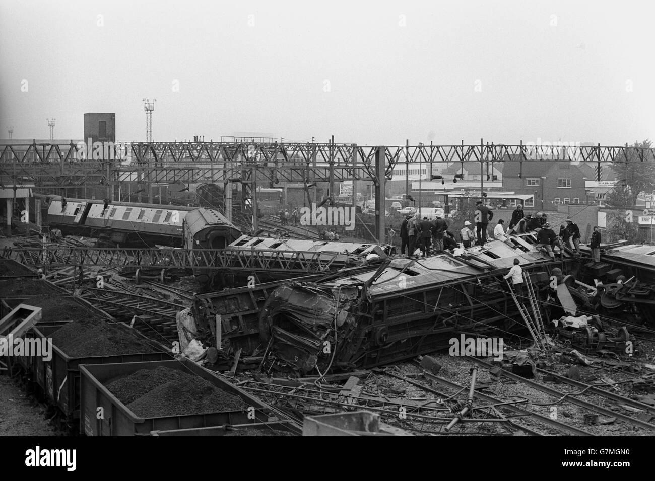Train crash scene black and white stock photos images