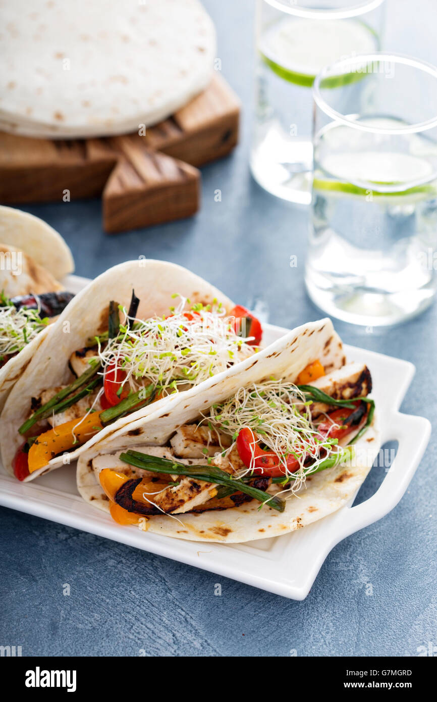Vegan tacos with grilled tofu and vegetables - Stock Image