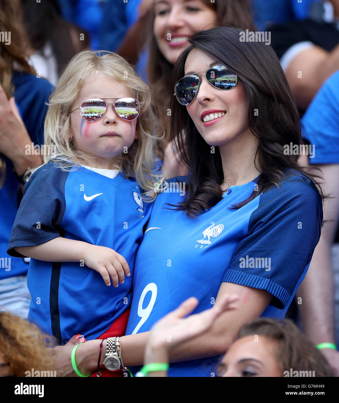 Jennifer Giroud Wife Of Frances Olivier And Their Daughter Jade In The Stands Before Round 16 Match At Stade De Lyon