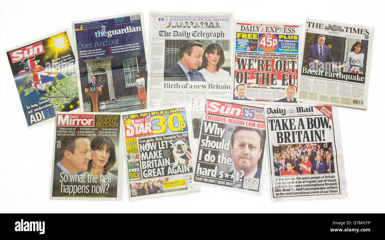 British newspaper front pages reporting Prime Minister David Cameron resigning after the EU Referendum on 23rd June - Stock Image