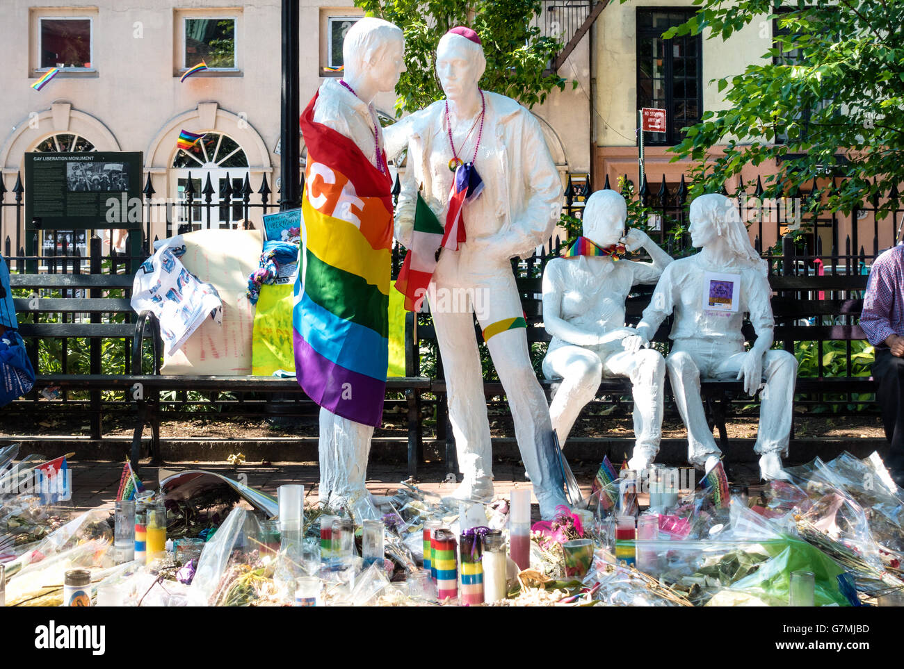 The Gay Liberation Monument by George Segal in Christopher Park near the Stonewall Inn in Greenwich Village in New - Stock Image