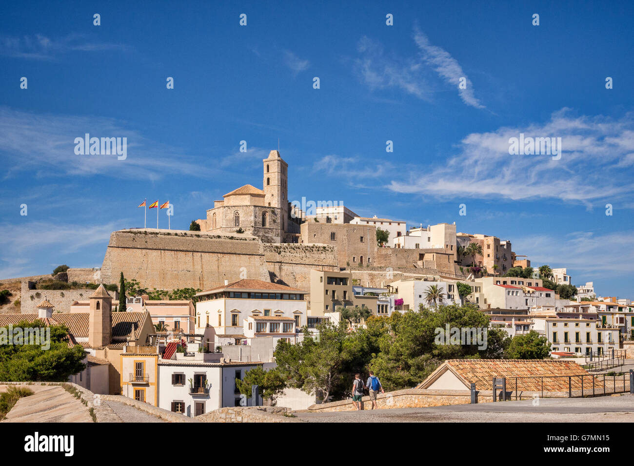 The Dalt Vila, the old part of Ibiza Town, dominated by the Cathedral, and seen from the town walls. - Stock Image
