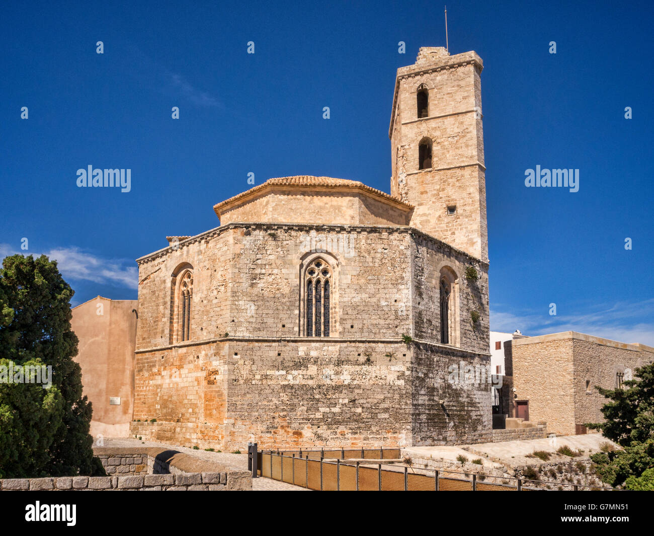 The Cathedral of Our Lady of the Snows in the Dalt Vila, the old part of Ibiza Town, Ibiza. - Stock Image