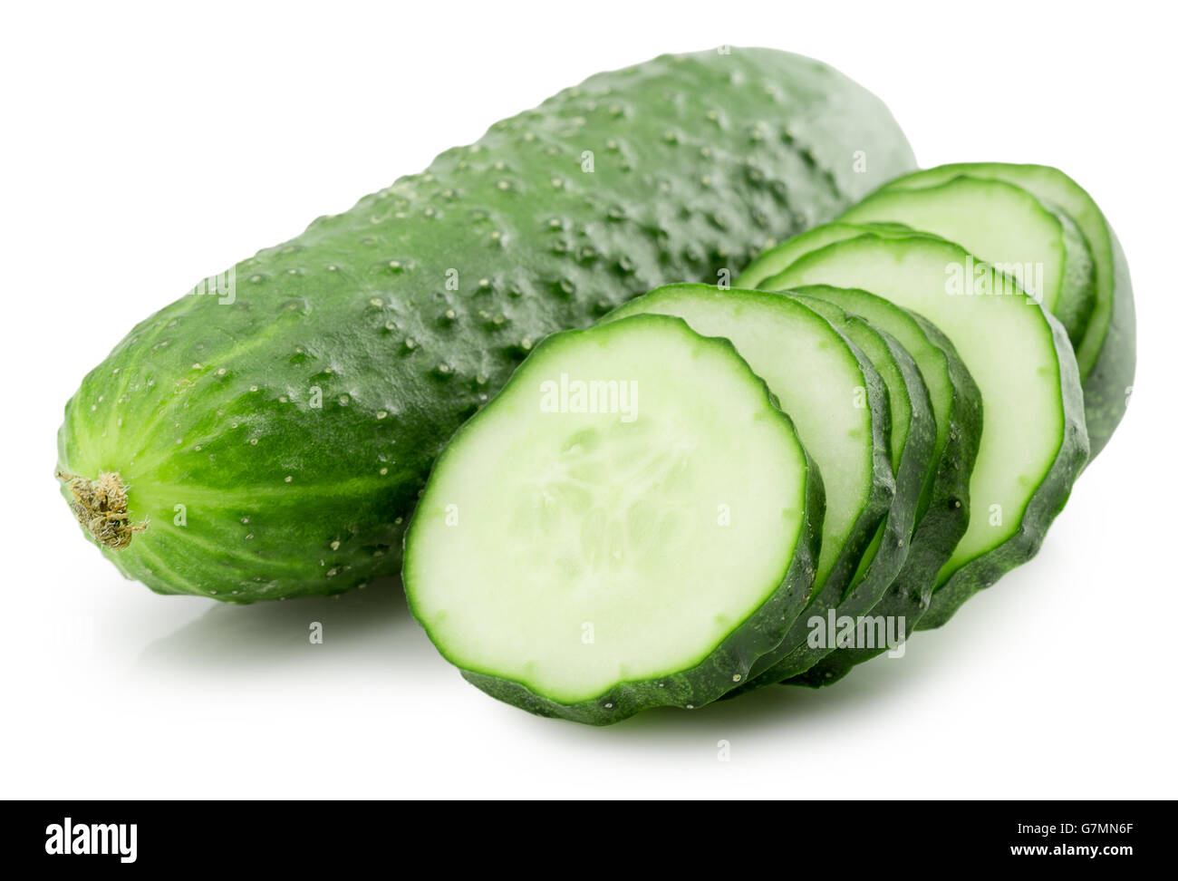 cucumber with slices isolated on the white background. - Stock Image
