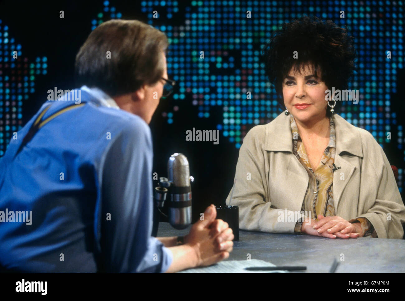 Legendary actress Liz Taylor appears on CNN's Larry King Live television interview show July 22, 1996 in Washington, - Stock Image