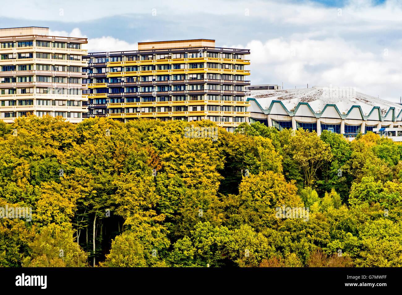 View at the University in Bochum, ruhr area, Germany; Blick auf die Ruhr Universitaet Bochum, vom Süden her - Stock Image
