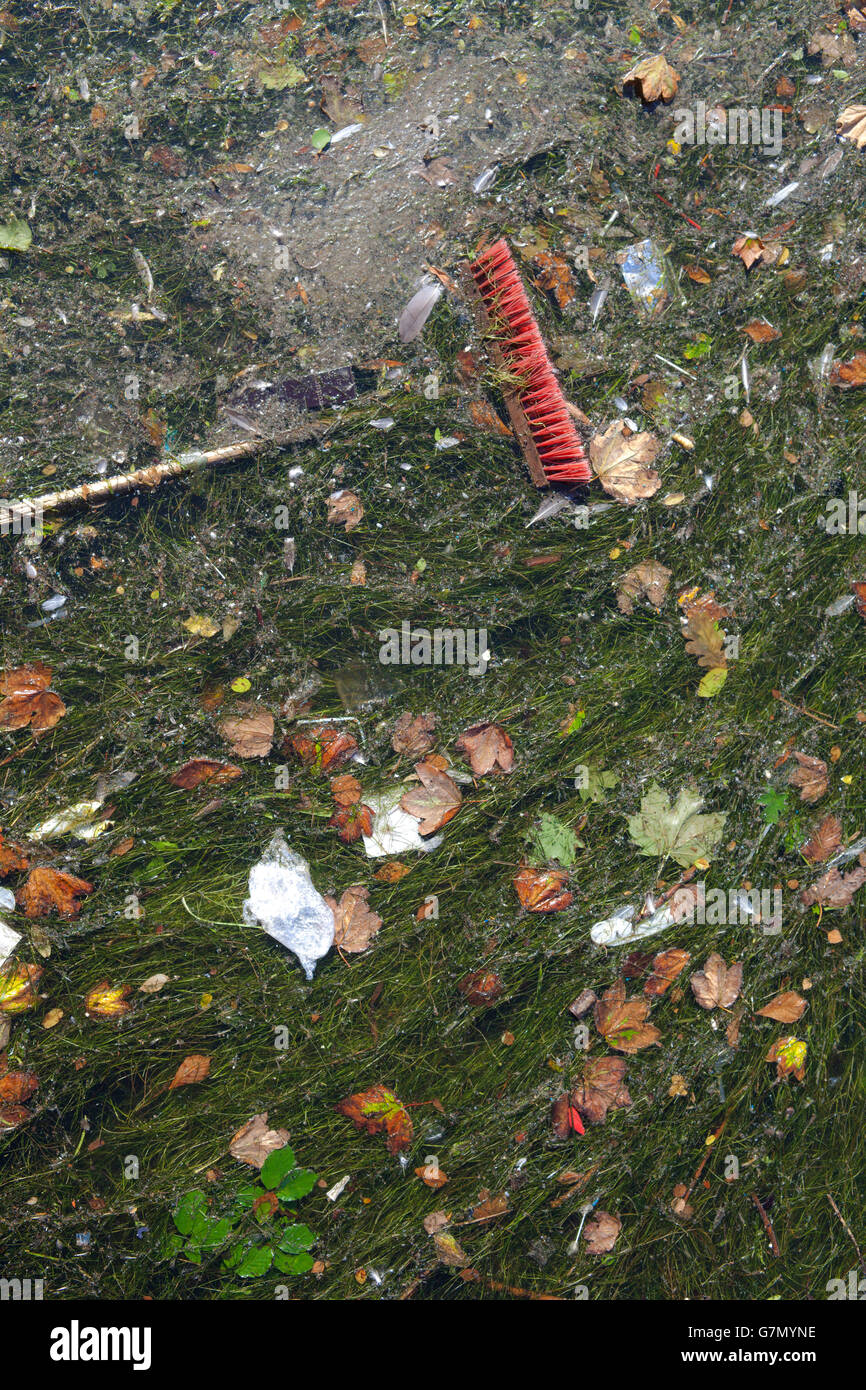 Detail of a broom thrown on a polluted river full of dirt, seaweed, rests of trash - Stock Image