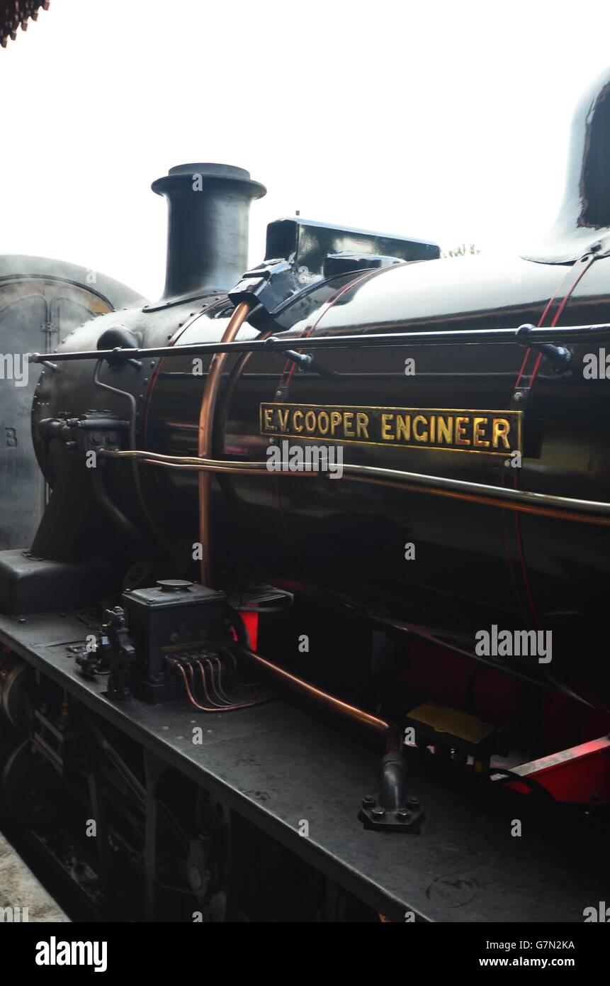 "1952 Swindon-built locomotive ""E V Cooper Engineer"" 46512, an Ivatt Class 2 2-6-0 at Strathspey Railway, Aviemore, - Stock Image"