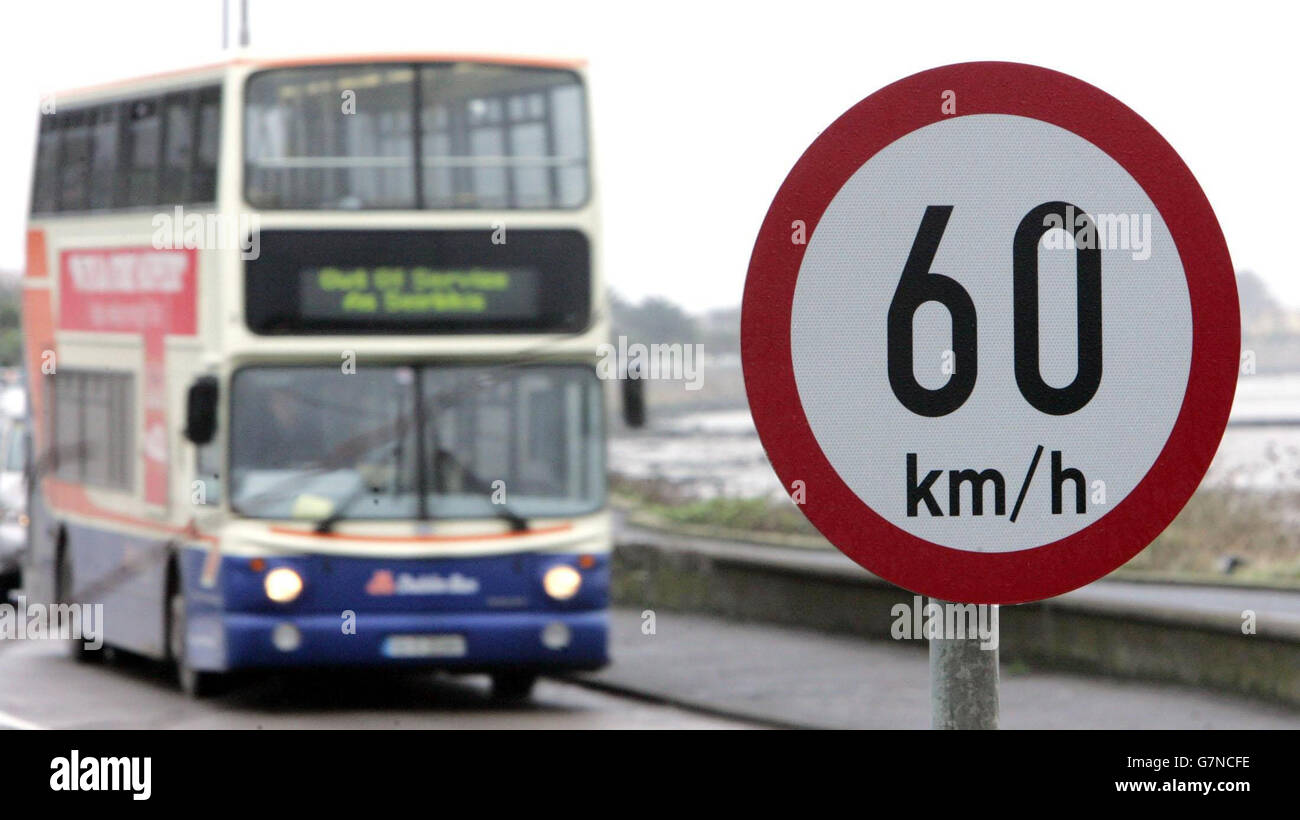 New metric road signs - Dublin - Stock Image