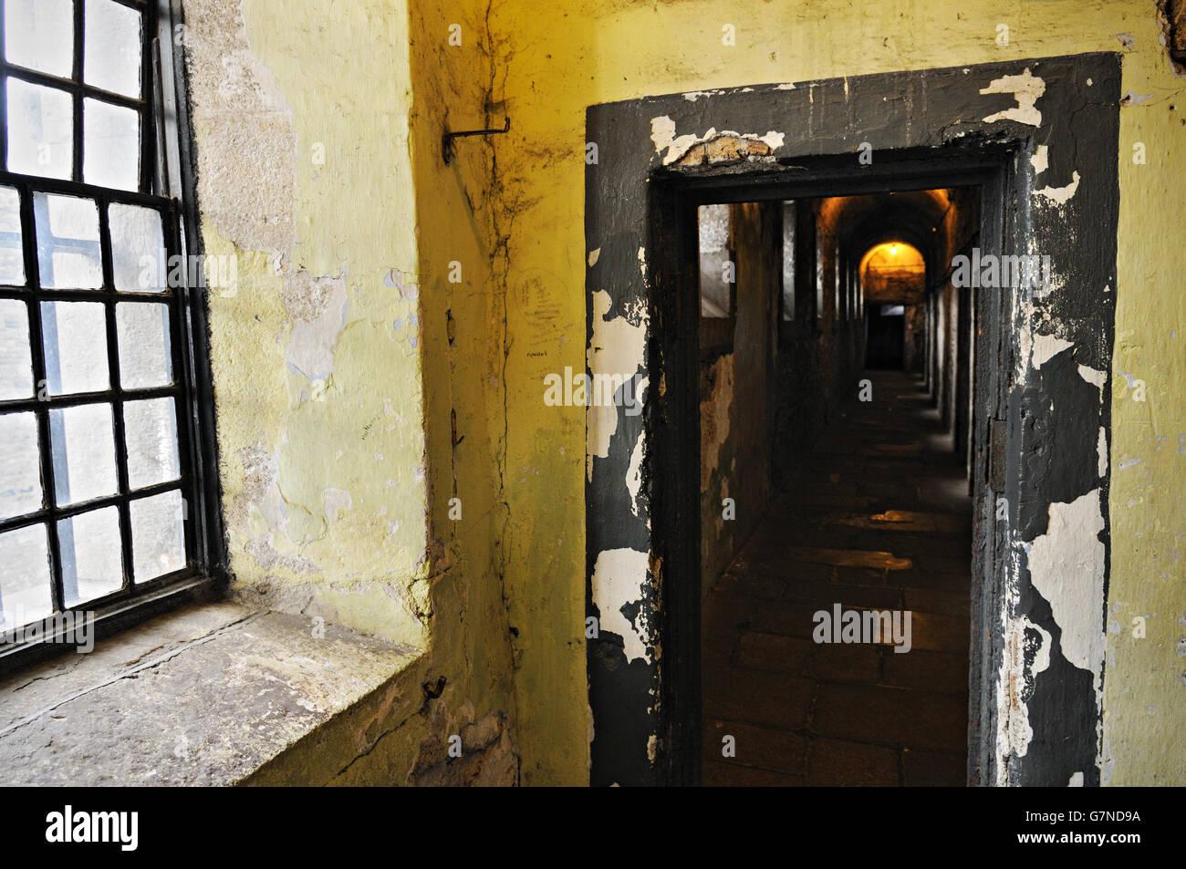 Window and dark corridor at Kilmainham Gaol in Dublin, Ireland Stock Photo